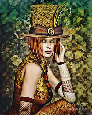 Steampunk Digital Art - Steampunk Girl Two by Alicia Hollinger