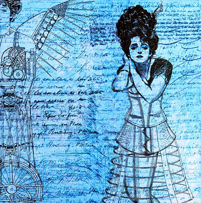 Bicycling Mixed Media - Steampunk Girls In Blues by Nikki Marie Smith