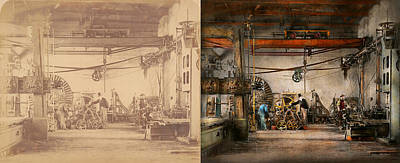 Steampunk - In An Old Clock Shop 1866 - Side By Side Print by Mike Savad