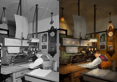 Steampunk - Rr - The Train Dispatcher 1943 Side By Side Print by Mike Savad