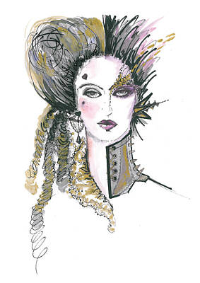 Watercolour Drawing - Steampunk Watercolor Fashion Illustration by Marian Voicu