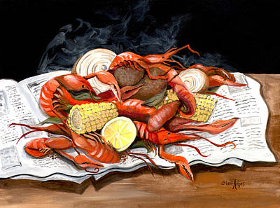 New Orleans Crawfish Painting - Steamy Crawfish by Elaine Hodges