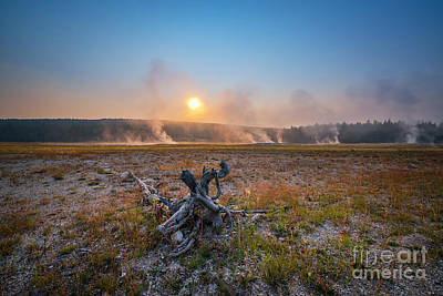 Steamy Sunrise In Yellowstone Print by Michael Ver Sprill