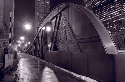 Steel Bridge Chicago Black And White Original by Steve Gadomski