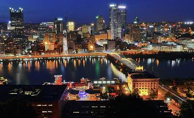 Steel City At Blue Hour Print by Frozen in Time Fine Art Photography