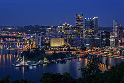 Steel City Glow Print by Rick Berk