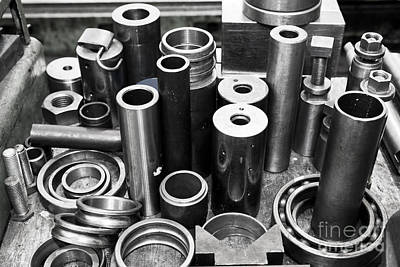 Machinery Photograph - Steel Cylinders Pistons And Tools In Workshop by Michal Bednarek