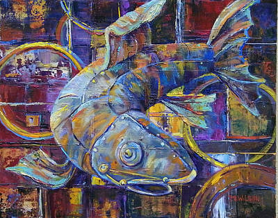 Salmon Painting - Steam Punk Steel Head by Peggy Wilson
