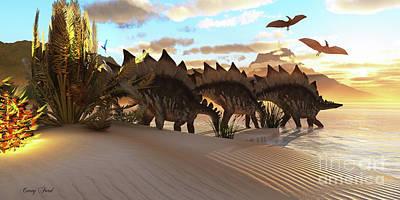 Stegosaurus Dinosaur Print by Corey Ford