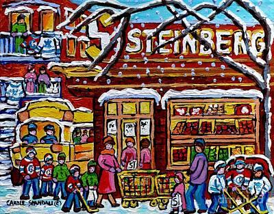 Steinberg's Montreal Landmark Painting School Bus Hockey Art Canadian Winter Scene Carole Spandau    Original by Carole Spandau