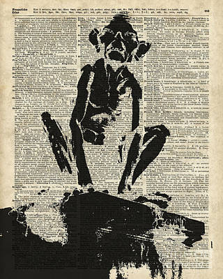 Tolkien Mixed Media - Stencil Of Gollum,smeagol Over Old Dictionary Page by Jacob Kuch