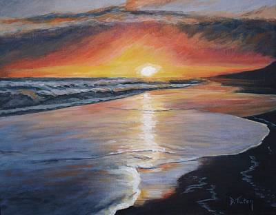 Waterscape Painting - Stephanie's Sunset by Donna Tuten
