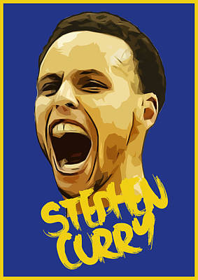 Stephen Curry 3 Print by Semih Yurdabak