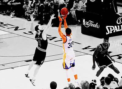 Deandre Mixed Media - Stephen Curry Another 3 by Brian Reaves