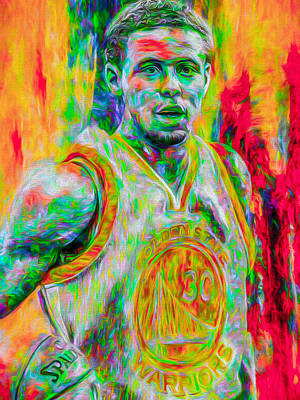 Stephen Curry Golden State Warriors Digital Painting Print by David Haskett