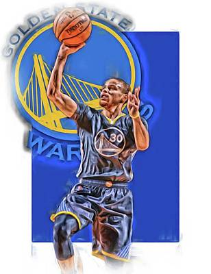 Stephen Curry Golden State Warriors Oil Art 2 Print by Joe Hamilton