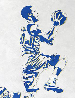 Stephen Curry Golden State Warriors Pixel Art Print by Joe Hamilton