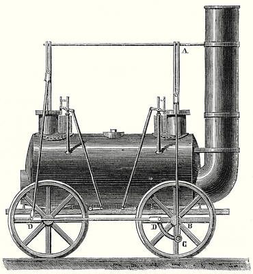 Stephenson's Locomotive With Coupled Wheels  Print by English School