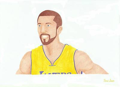 La Lakers Drawing - Steve Blake by Toni Jaso