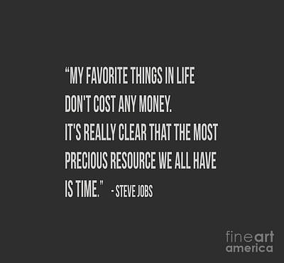 Steve Jobs Time Quote Tee Print by Edward Fielding