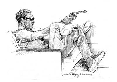 Movie Star Drawing - Steve Mcqueen Colt 45 by David Lloyd Glover