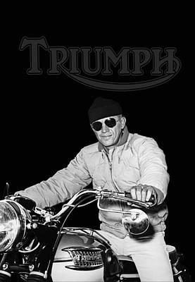 Vintage Motorcycle Photograph - Steve Mcqueen Triumph by Mark Rogan