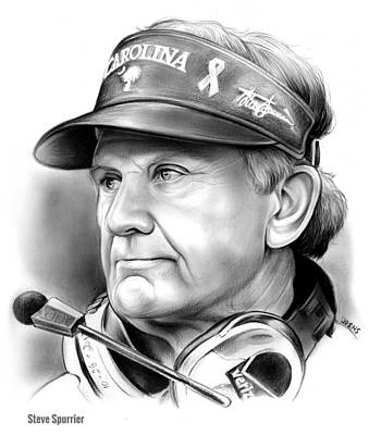 Football Drawing - Steve Spurrier by Greg Joens