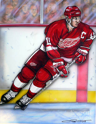 Hockey Drawing - Steve Yzerman by Dave Olsen