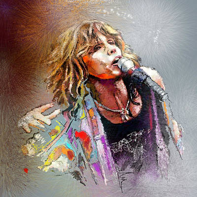 Musicians Drawing - Steven Tyler 02  Aerosmith by Miki De Goodaboom