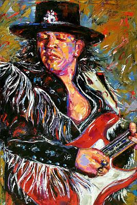 Stevie Ray Red Guitar Print by Debra Hurd