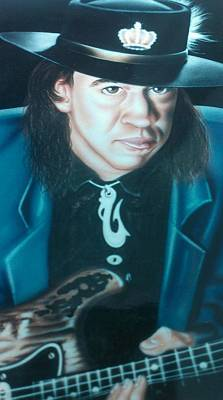 Rays Painting - Stevie Ray Vaughn by Darren Robinson