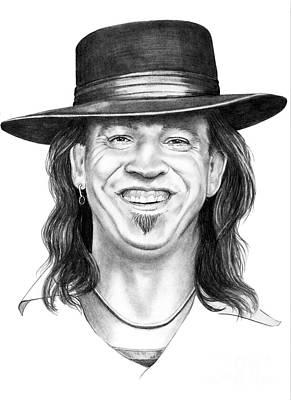Famous People Drawing - Stevie Ray Vaughn by Murphy Elliott