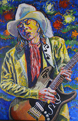 Stevie Ray Vaughn With No.1 Stratocaster Original by Dan Terry