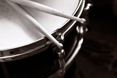Sticks On Snare Drum Print by Rebecca Brittain