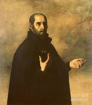 Halo Painting - St.ignatius Loyola by Francisco de Zurbaran