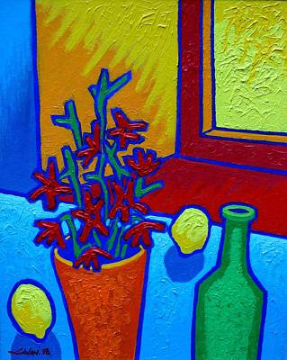 still Life At Yellow Window Print by John  Nolan