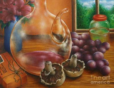 Purple Mushroom Painting - Still Life In Oil by Evelyn Sichrovsky