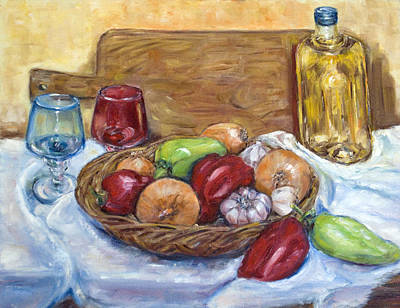 Bellpeppers Painting - Still Life by Natia Tsiklauri