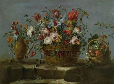 Pseudo Painting - Still Life Of A Basket Of Flowers On A Rock Ledge by MotionAge Designs