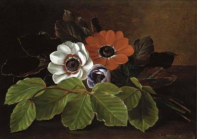 Painting - Still Life Of Anemones by Johan Laurentz Jensen