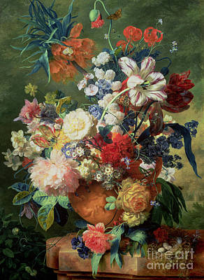 Still Life Of Flowers And A Bird's Nest On A Pedestal  Print by Jan van Huysum
