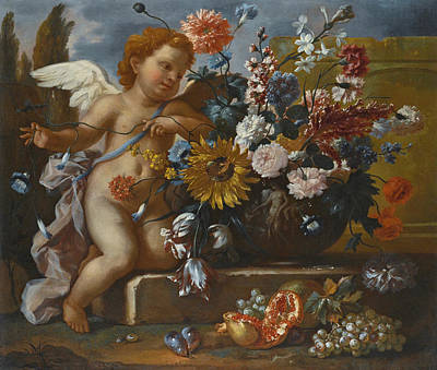 Painting - Still Life Of Flowers In An Urn With A Putto On A Stone Ledge by Franz Werner von Tamm