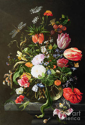 Dragonflies Painting - Still Life Of Flowers by Jan Davidsz de Heem