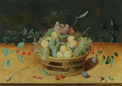 Still Life Painting - Still Life Of Fruit In A Basket On A Ledge by MotionAge Designs
