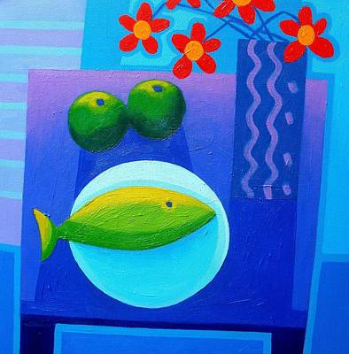 Tropical Fish Painting - Still Life On Table by John  Nolan