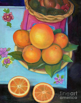 Still Life Oranges And Grapefruit Print by Marlene Book