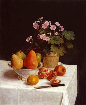 Henri Fantin-latour Painting - Still Life Primroses Pears And Pomegranates by Henri Fantin-Latour
