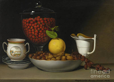 Strawberry Painting - Still Life   Strawberries, Nuts by Raphaelle Peale
