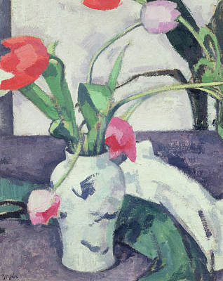 Bouquets Of Pink Flowers Green Blue Painting - Still Life  Tulips In A Chinese Vase by Samuel John Peploe