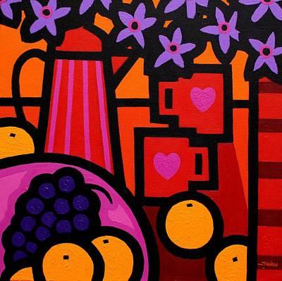 Restaurant Grape Painting - Still Life With 2 Hearts by John  Nolan